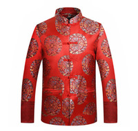 Wholesale Traditional Men Chinese Clothes - Wholesale- Retro Tang Suit Jacket Chinese Traditional Clothes Dragon Phoenix Embroidery Oriental Button Up Mandarin Collar Wedding Suit