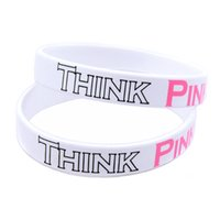 Wholesale Silicon Bracelets Printing - Wholesale Shipping 100PCS Lot Printed Think Pink Breast Cancer Awareness Silicon Bracelet, A Great Way To Show Your Support