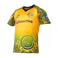 Wholesale Rugby Homes - NEW Zealand Warriorsvs 2016 2017 2018 Australia Special Version yellow Rugby Black HOME Sydney WALLABIES 2017 INDIGENOUS JERSEY size S-3XL