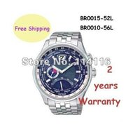 Wholesale Eco Drive Watches - NEW BR0015 BR0010 ECO-DRIVE WORLDTIME BR0015-52L BR0010-56L SAPPHIRE 100M MENS WATCH Original box