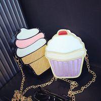 Wholesale Cupcakes Icing - Wholesale- NEW Cute Fashion Lady Kids Girls Ice Crean Cupcake Cartoon Messenger Bags Shoulder Bag Hobo Purse Handbag