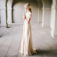 Wholesale Wedding Gown Flutter Sleeves - Bohemian Style Champagne Wedding Dress with Flutter Sleeves A-line Vintage Bridal Gowns Outdoor Modest Beach Bride Dresses Simple New