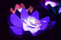 ingrosso ha portato loto artificiale-Diametro 17 cm LED artificiale galleggiante lampada fiore di loto con luci cambiate colorate per decorazioni per feste di nozze