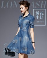 Wholesale Denim Shirt Women Cowboy - Europe and the United States fashion big size cowboy dress one - third of the sleeves spring to increase the size of the fat Instit Hot Sale