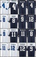 Wholesale Romo Football Jerseys - Game 100% Stitched Football #9 Romo 8 Aikman 12 Staubach 11 Beasley White Blue Thanksgiving Jerseys Mix Order