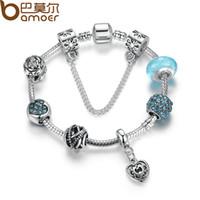 Wholesale Vintage Glass Flower Beads - Wholesale-2016 BAMOER Hot Sale Vintage Bracelet Silver Plated Flower Bracelets with Glass Beads Girl Bracelets Accessories PA1886