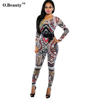 Wholesale Tribal Tattoos Sleeves - Wholesale- New Rompers Womens Jumpsuit Women Tribal Tattoo Printing Long Sleeve Sexy Bodysuit Celebrity Catsuit Playsuit Bodycon Jumpsuit