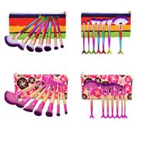 Wholesale Makeup Brushs - New Mermaid Makeup Brush Set with bag 7pcs Fish Tail Foundation Powder Eyeshadow Make up Brush Contour Blending Cosmetic Scales Brushs