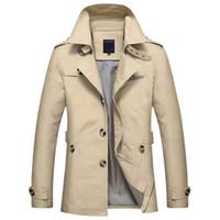 ingrosso uomini di trincea nera-Inverno Uomo Giacche Casual Giacche e cappotti Uomo nero Slim Trench Coat Uomo Parka Inghilterra Stile Luxury Outwear Jacket Plus Taglia M-5XL