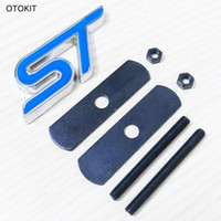 Wholesale St Grill Badge - 1Set Metal Chrome ST Car Front Grille Emblem Badge 3D Grill Car Sticker Refitting Decal for Ford Focus Mondeo Car Styling