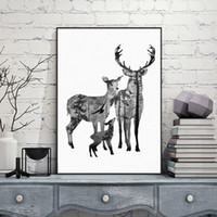 Compra Cervo Decorazione Capo Animale-Nordic Vintage Deer Head Silhouette Poster Black White Animals Stampe su tela Wall Picture Tela Pittura Scandinave Decorazione domestica Senza cornice