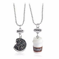 Wholesale Cup Chain Settings Wholesale - 2 Pcs Set Best Friends BFF Pendant Bead Chain Necklace Fastfood Coffee Cup Oreo Glitter Biscuit Kids Jewelry Boys Girls Gift