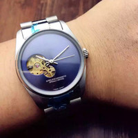 negócios automáticos venda por atacado-Hot Top Marca Homens Relógios De Luxo Assista AAA Mecânico Automático Relógio de Pulso de Aço Inoxidável banda Skeleton Dial Presente do Negócio relógio relojes