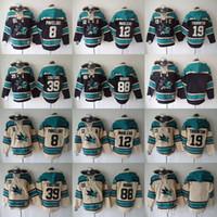 nhl jersey barato al por mayor-Sudaderas con capucha de NHL San Jose Sharks camisetas de hockey baratas Sudaderas PAVELSKI # 8 BURNS # 88 MARLEAU # 12 THORNTON # 19 COUTURE # 39 Black Cream