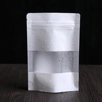 ingrosso senza fagioli-Sacchetti di carta Kraft bianco Stand up Pouch Con finestra Kraft piccola borsa al dettaglio Food grade A prova di umidità Per Snack Cookie Beans Spedizione gratuita