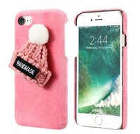 Wholesale Apple Hats Wholesale - Fashion Lovely Plush Hat Furry Hard PC Phone Back Cases for Iphone 6 6s plus 7 7 plus