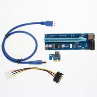 Wholesale 1x 16x cable online - PCIe PCI E PCI Express Riser Card x to x USB Data Cable SATA to Pin IDE Molex Power Supply for BTC Bitcoin Litecoin Miner Machine