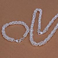 hebillas de 6mm al por mayor-pesado 6mm faucet camarones hebilla conjunto de joyas de plata esterlina para hombres WS029, bonito conjunto de collar de pulsera de plata 925