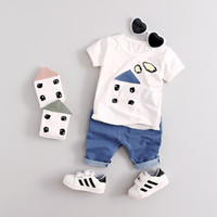Wholesale Children S Winter Pants - Summer Children Outfits Boys Short Sleeve Less-Sleeve Clothes Top+Short Pants 2 pcs Outfits 3 Colors 4 s l