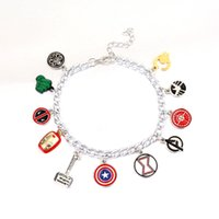 Wholesale hammered bracelet - Free Shipping Avengers Charm Bracelet Captain America Shield Iron Man Mask Thor's hammer eagle deadpool hulk unisex bracelet
