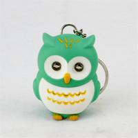Wholesale Owl Flashlight - cartoon night owl led keychains flashlight sound rings Creative kids gift toys cute cartoon sound light keychains