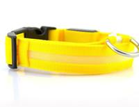 проблесковые ожерелья собаки оптовых-Pure Color Pet Dog Cat Светодиодный ошейник Night Light Up Мигает Saftey Ожерелье с поводком Поводок Регулируемый XS S M L XL Различные цвета