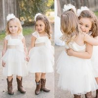 Wholesale Western Dresses For Girls - Western Country Flower Girl Dresses For Weddings 2017 Hot Sale Ivory Tulle Lace With Champagne Sash Knee Length Girls Dress EF4072