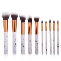 Wholesale Tools For Set Eyebrows - 10pcs set Makeup Powder Cosmetics BB Cream Blush Eyebrow Lip Concealer Eyeshadow Brushes For Professionals Marble Handle Make Up Set Tools