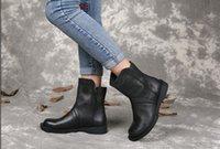 ingrosso stivaletti in pelle morbida-LIUGG riveli all'ingrosso stivali da donna in vera pelle vintage in morbida pelle di qualità invernale stivaletti alla caviglia taglia 35-40