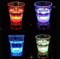 Wholesale Wholesale Led Shot Glasses - Wholesale-Free shipping small LED shot glass flashing shot glasses luminous cup birthday party Halloween Chirstmas gift