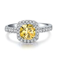 Wholesale Halo Cushion Cut Diamond Rings - Halo 3Ct Cushion Cut Yellow Synthetic Diamond Ring Engagement for Women 925 Sterling Silver Jewelry White Gold Plated