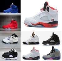 Wholesale Purple Embroidered Lace - 2017 New Air Retro 5 red suede Mens Basketball Shoes Cement white blue suede space jam Oreo OG Metallic Black Metallic Gold sneakers