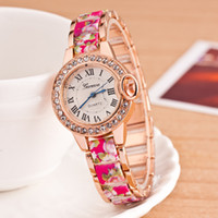 Wholesale Hot New Flower Lady Dress - Free shipping fashion hot style printing alloy flowers set auger ladies watch Geneva women dress watches high quality quartz watch