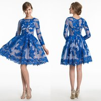 Wholesale Long Sleeve Cocktail Dress Sales - Party Cheap Royal Blue Prom Dresses Illusion Simple Long Sleeve Lace Hot Sale Custom Made Simple Elegant A-Line Cocktail Petal Power Gowns