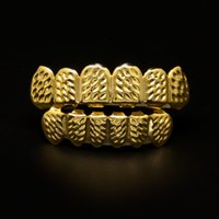 Wholesale Cooper Copper - New Bio Cooper Gold Plated Iced Out Hip Hop Teeth Grillz For Mouth Caps Top & Bottom Grills Set Vampire Teeth Christmas Gift With Box
