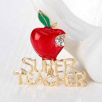 Wholesale apple brooch pin - Wholesale- Super Teacher Gold Plated Crystal Red Apple Poppy Brooch Pins Brooches Charm Women Men Jewelry Party Christmas Gifts Brincos