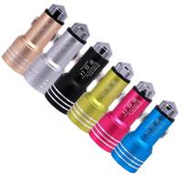 iphone dc ladegerät großhandel-Autoladegerät Aluminiumlegierung Metall Dual USB Port DC 3.1A Autoladegerät Für iphone 6 7 Samsung Gps Mp3 Lautsprecher 6 Farben