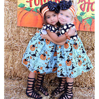 Wholesale White Witch Dress - Girls Halloween Pumpkin Dress Clothing Black Top With White Dots Blue Dresses With Pumpkin Witch Printed Party Holiday Kids Dresses
