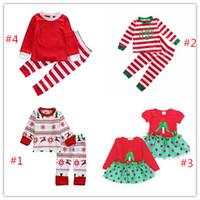 Wholesale Wholesale Teen Girls Clothing - Baby Teen Boys Girls Chirtsmas Red Clothes Boutique Kids Clothing Set 2PCS Christmas Toddler Costume Long Sleeve Shirt Legging Warm Pants