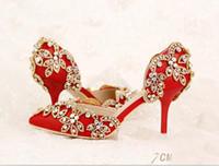 sandalias rojas de noche de mujeres al por mayor-Mujeres rojas sandalias de novia de dama de honor zapatos de boda con cristales Prom sexy noche noche Club fiesta tacones 7 9 CM tacones 067
