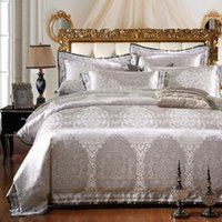 серебряные наборы постельных принадлежностей queen  оптовых-Wholesale-SunnyRain 4/6-Pieces Silver  Bedding Set Queen King Size Bed Set Jacquard Lace Duvet Cover Bed Sheet Bed Linen
