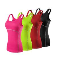 Wholesale Womens Running Tanks - 2017 Womens Skinny Sportswear Compression Fitness Tights Gym Yoga Shirt Run Sports suit Women Bodybuilding Crop Tank Tops