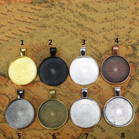 Wholesale cabochon setting - 10pcs Multi Colors mm Necklace Pendant Setting Cabochon Cameo Base Tray Bezel Blank Fit mm Cabochons Jewelry Making Findings