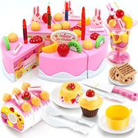 Wholesale Pink Girls Play Kitchen - 38-75pcs DIY Pretend Play Fruit Cutting Birthday Cake Kitchen Food Toys Cocina De Juguete Toy Pink Blue Girls Gift for Children