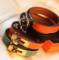 Wholesale Rotary Day - Buckle Leather Bracelet Wholesale Locomotive Bangle Rotary Bangle Valentine Day Gift Charms Braided Wrist Christmas Gift Jewelry-J138