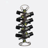 Wine Rack Retro Rattan Uva Bar Prateleira De Vinho Suporte De Parede Single bottle Europe Estilo Criativo Leaves vines Design Iron Art Vintage wholesale