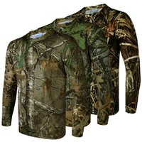 Wholesale Browning Tshirt Xxl - New 2017 Quick-drying elastic long-sleeved T-shirt bionic camouflage 3D Tshirt outdoor hunting camping clothing sports plus size
