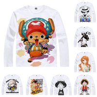 chapeau zoro achat en gros de-Anime Shirt ONE PIECE T-Shirts Straw Hat Pirates Long Sleeve Monkey D Luffy Zoro Nami Chopper Cosplay Motivs Kawaii Chemises