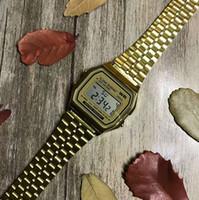 dijital kadın altın izle toptan satış-2019 Yeni Altın Gümüş Üst Marka Erkek Saatler Kuvars Dijital Ekran Bilezik Saatler Saat Man Woman Için Paslanmaz Çelik Kayış reloj mujer
