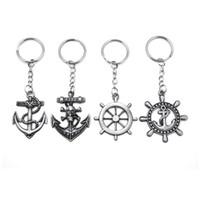 Wholesale Keychain Anchor - Original New Vintage Silver Anchor Man Keychain Trinket Retro Skull Anchor Rudder Key Chain Rudder Key Ring Jewelry Souvenirs Gift Llaveros